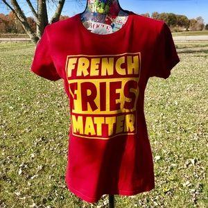 FRENCH FRIES MATTER Red & Yellow T-Shirt EUC